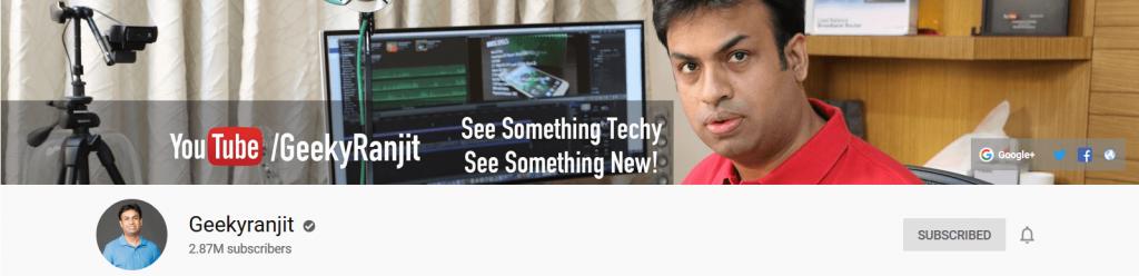 Geeky ranjit tech youtube channel