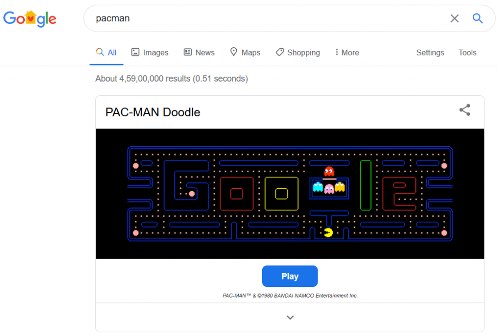 Pac Man Google Game