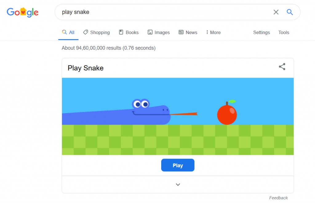 Play Snake Game on Google